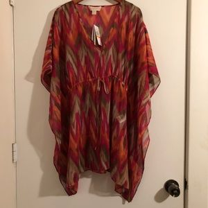Michael Kors Red/Orange/Brown Coverup - S/M - NWT